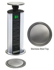 POP UP Power Tower 3 Socket 2 USB with Safety Switch Stainless Steel TOP