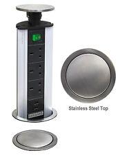 POP-UP Power Tower 3 prise USB 2 avec sécurité interrupteur inox TOP