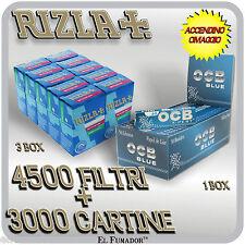 4500 Filtri RIZLA SLIM 6mm + 3000 Cartine OCB BLU X-PERT CORTE BLUE + ACCENDINO