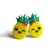 FUNNY GIALLO ANANAS frutta kawaii cibo miniatura PRIMAVERA Vacanza fimo orecchini