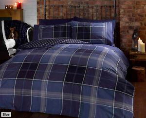 Argyle Tartan Check & Reverse Pin Stripe Duvet Quilt Cover Bedding + Pillowcases