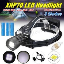 60000LM XHP70 LED Rechargeable 18650 Headlamp Headlight Head Torch W/ USB Cable