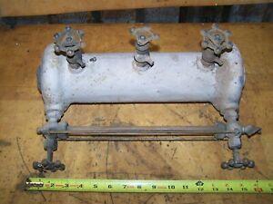 "Large 16"" Antique Cast Iron Steam Locomotive Boiler Water Site Glass W/Valves"