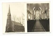 RPPC Real Photo IL Utica Illinois St Mary's Church Exterior Interior Postcard