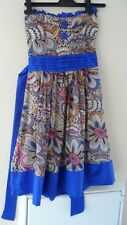 Size Small (8) Strapless Royal Blue with Paisley Print Party Dress