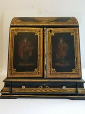 Exquisite Antique Victorian Black Lacquer Hand Painted Paper Maché Writing Box S