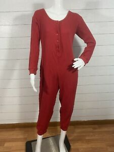 Victoria Secret Country One Piece Thermal Sleepwear Red Cotton Women's Size M