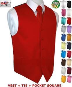 Men's Satin Formal Tuxedo Vest Tie & Hankie Set. Wedding, Prom, Cruise, Dress