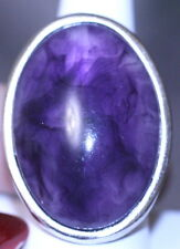 Cocktail Ring silver plated LARGE OVAL purple stone size 8