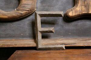 """Early Brass Letter """"E"""" Antique Trade Sign Folk Art Primitive emblem badge old"""