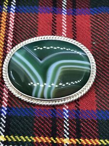 **RARE** Ola M Gorie Large Polished Stone Brooch