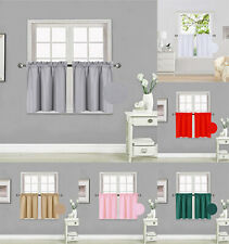 2 Panels Tiers Small Window Treatment Curtain Insulated Blackout Set # R16