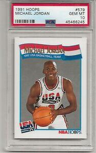 1991 HOOPS #579  MICHAEL JORDAN, PSA 10 GEM MINT, HOF, CHICAGO BULLS, L@@K