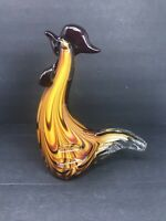 "Art Deco Glass Rooster Chicken Large and Heavy Figure Figurine 10"" Broken Tail"