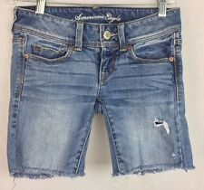 American Eagle Slim Boot Stretch Sz 0 Denim Jeans Cut Off Destroyed Shorts h