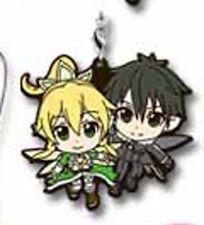 Sword Art Online Kirito, Leafa Rubber Phone Strap Ichiban Kuji 2 G Prize NEW
