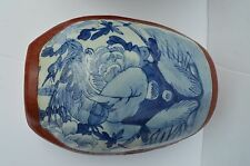 BEAUTIFUL CHINESE RED PAINTED LAQUER BLUE & WHITE PORCELAIN TOP COVER BASKET