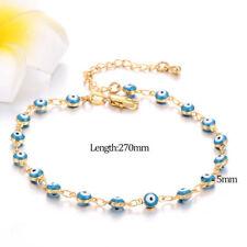 Turkish Blue beads Enamel Evil Eye Chain Cute Bracelet For Women 14k gold Filled