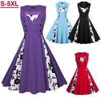 Plus Size Women Sleeveless Hepburn Vintage Swing Floral Pinup Rockabilly Dresses