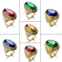 Fashion Mens Gold Stainless Steel Signet Wedding Bands Biker Class Jewelry 8-12