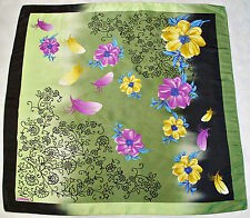 "VINTAGE ZAMBAK FLORAL ART FLOWERS FEATHERS GREEN PURPLE SATIN 36"" SQUARE SCARF"
