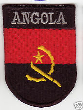 ANGOLA Country Flag Patch Shield Style
