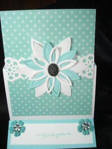 Handmade Easel Thank You Card Using Stampin Up Spellbinders Daisy  Rhinestones