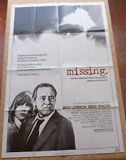 Missing Movie Poster, Original, Folded, 1 Sheet, Jack Lemmon, Sissy Spacek, 1982