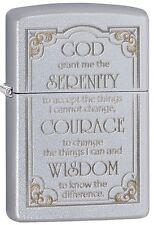 "Zippo Lighter ""Serenity Prayer"" No 28458 on brushed chrome finish  - New"