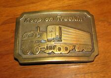 "Vintage Indiana Metal Craft Brass Belt Buckle ""keep On Truckin"" Thermo King"