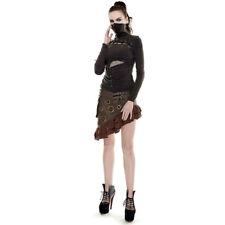 Womens Brown Steampunk Victorian Costume Asymmetrical Skirt Rivets Mad Max S M L