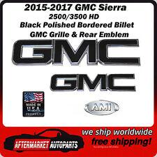 2015-2017 GMC Sierra 2500 HD Black Polished Grille & Tailgate Emblem AMI 96514KP