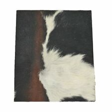 "Tri-Colored Black/Brown/Off White Leather Hair on Cow Hide 8"" x 10"" Pre-cut"