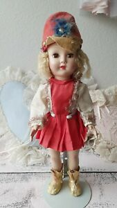 """1940s-50s Effanbee Mohair Majorette Doll 15"""" Feather Hat Shoes Rare Outfit"""