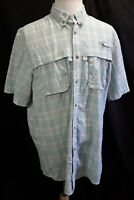 Men's L.L.Bean Plaid Seersucker Vented Fishing Short Sleeve Shirt SizeXL Tall