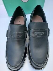 APEX LT200 Size 11.5 Wide Black Leather Penny Loafer Missing ORTHOPEDIC insoles