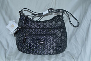GIANI BERNINI CIRCLE SIGNATURE LUREX VINYL HOBO BLACK SILVER MSRP $99.50