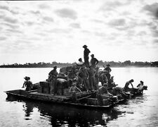"""Soldiers on a Barge Cross the Irrawaddy River 8""""x 10"""" World War II WW2 Photo 553"""