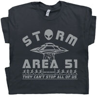 Storm Area 51 T Shirt UFO Flying Saucer Alien Men Women Graphic Roswell X-files