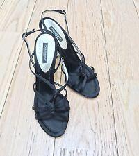 Dolce & Gabbana Mujer Satén Negro Charol Sandalia, 36 EU, 3 Uk,