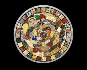 """30"""" Natural Multi Inlay Stone Marble White Round Coffee Center Table Top H5101"""
