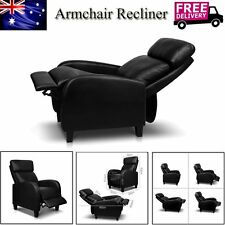 Faux PU Leather Recliner Armchair Lounge Chair Sofa Reclining Ergonomic Black AU