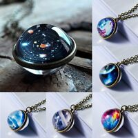 Glow In the Dark Galaxy System Planet Pendant Necklace Double Sid Glass Ball New