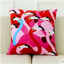 Tropical Style Hot Pink, Blue and White Watercolour Flamingos Print Cushion