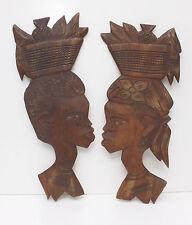 Hand Carved Tribal Ethnic Folk Art Heads Vintage/Antique