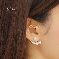 18K GOLD GF 925 SILVER CRYSTAL PEARL STUD EARRINGS DIFFERENT SIDE