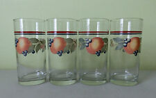 4 Retro Vintage Cocktail Iced Tea Water Drinking Glasses Collins Highball Fruits