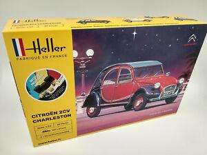 Maquette Citroën 2cv Charleston Heller France echelle 1:24 avec peinture colle..