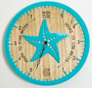 Tide Clock Australian Made Tasmanian Oak Wood Sea Green, Star Fish Art Design