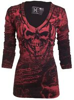 XTREME COUTURE by AFFLICTION Women LS T-Shirt KILLER Tattoo Biker Sinful $58